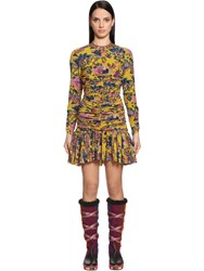 Etro Draped Printed Crepe De Chine Mini Dress