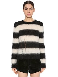 Saint Laurent Destroyed Brushed Mohair Knit Sweater Black White