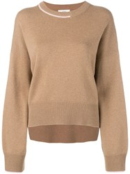 Pringle Of Scotland Contrast Cashmere Jumper Brown