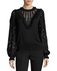Andrew Gn Studded Silk Lace Sleeve Blouse Black