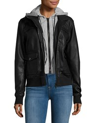 Blank Nyc Hooded Faux Leather Jacket Adulting