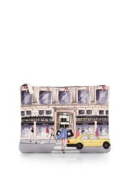 Saks Fifth Avenue Saksstyle Store Front Faux Leather Pouch White Multi