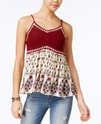 American Rag Printed Crochet Front Swing Top Only At Macy's Egret Combo