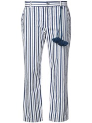 Figue Striped Cropped Trousers Blue