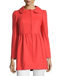 Red Valentino Pleated Wool Blend Coat Arancio Women's