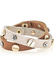 Love Rocks Leather Stud Bracelet Set Tan Cream