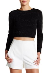 David Lerner Long Sleeve Cropped Pullover Black