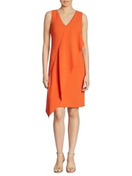 Ralph Lauren Lucianna Draped V Neck Dress Persimmon