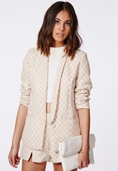 Missguided Evelynn Geometric Tailored Blazer Taupe Grey