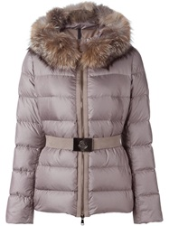 Moncler Fox Fur Trim Padded Jacket Nude And Neutrals