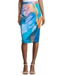 Milly Watercolor Print Midi Skirt Teal