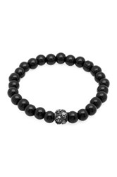 Steeltime Skull And Black Ip Beaded Stretch Bracelet