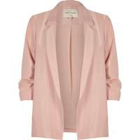 River Island Womens Light Pink Stripe Ruched Sleeve Blazer