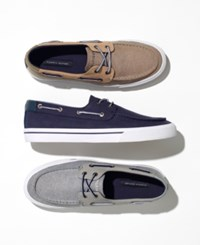 Tommy Hilfiger Men's Phinx Canvas Boat Shoes Created For Macy's Men's Shoes Gray