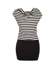 Morgan Scoop Neck Striped Fitted Mini Dress Off White
