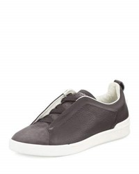 Ermenegildo Zegna Couture Men's Triple Stitch Leather And Suede Low Top Sneaker Gray Grey