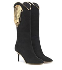 Charlotte Olympia Magnifico Suede Boots Black