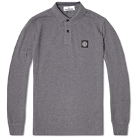 Stone Island Long Sleeve Regular Fit Polo Charcoal Marl