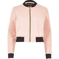 River Island Womens Light Pink Cropped Bomber Jacket