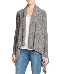 Bloomingdale's C By Basic Open Cashmere Cardigan Black White Twist