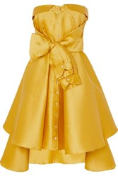Alexis Mabille Bow Detailed Satin Twill Mini Dress Yellow
