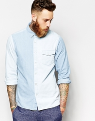 Asos Western Shirt In Long Sleeve With Contrast Panelling Blue
