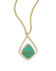 Karen Kane Crystal Accented Turquoise Pendant Necklace Green