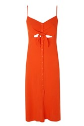 Topshop Knot Front Midi Slip Dress Red