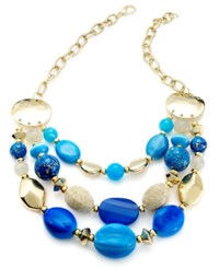 Styleandco. Style And Co. Necklace Gold Tone Blue Bead Frontal Necklace