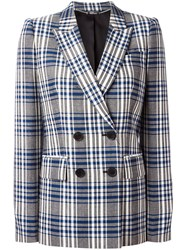 Alexander Mcqueen Check Double Breasted Blazer Blue