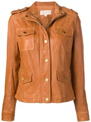 Michael Michael Kors Buttoned Leather Jacket Brown