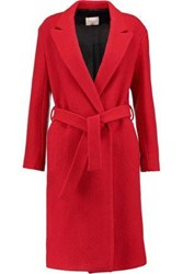 Sandro Felted Wool Coat Red
