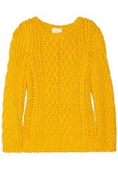Band Of Outsiders Cable Knit Cotton Sweater Yellow