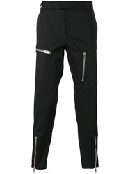Les Hommes Multiple Zips Cropped Trousers Black