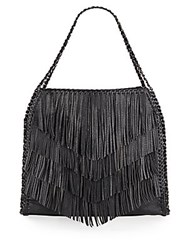 Sondra Roberts Fringed Faux Leather Hobo Black