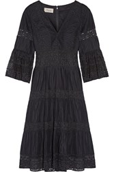 Temperley London Desdemona Pleated Cotton Voile And Guipure Lace Dress Black
