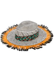 Etro Fringed Woven Hat Women Silk Paper Feather 56