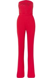 Antonio Berardi Strapless Crystal Embellished Crepe Jumpsuit Red