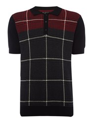 Merc Men's Short Sleeve Knitted Check Polo Charcoal Marl