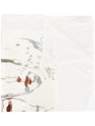 Avant Toi Abstract Paint Frayed Scarf White