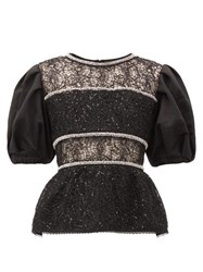 Self Portrait Puffed Sleeve Crystal Embellished Lace Top Black