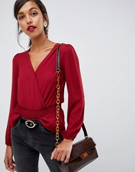 Oasis Wrap Front Blouse In Red Multi