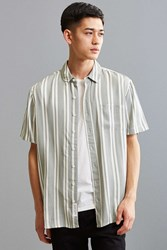 Native Youth Tunstall Vertical Stripe Button Down Shirt Grey