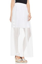 Vince Camuto Side Tie Mesh Overlay Maxi Skirt Ultra White