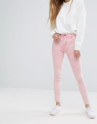 Dr. Denim Dr Plenty Mid Rise Jeans With Raw Hem Pink Ripped