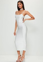 Missguided White Ribbed Backless Ruched Back Midi Dress