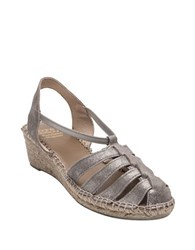 Andre Assous Desi Leather Espadrille Sandals Pewter