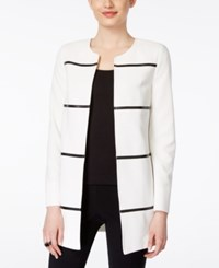 Kasper Contrast Faux Leather Piped Open Front Blazer White