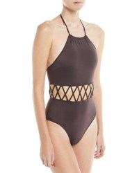 Solid And Striped Barbara High Halter Lattice Cutout One Piece Swimsuit Brown
