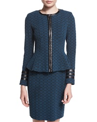 Nanette Lepore Zip Front Textured Collarless Jacket